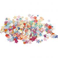 Sequins, D: 5-20 mm, pastel colours, 10 g/ 1 pack
