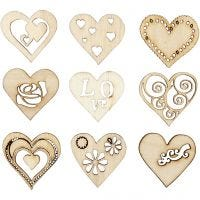 Wooden decorations, love, size 28 mm, 45 pc/ 1 pack
