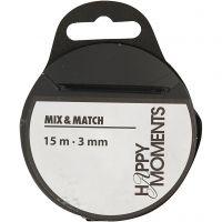 Satin Ribbon, W: 3 mm, black, 15 m/ 1 roll