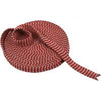 Knitted Tube, W: 22 mm, christmas red/grey, 10 m/ 1 roll