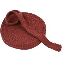 Knitted Tube, W: 30 mm, christmas red/grey, 10 m/ 1 roll