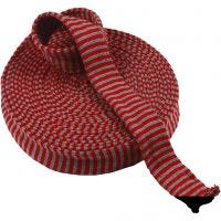 Knitted Tube, W: 40 mm, christmas red/grey, 10 m/ 1 roll