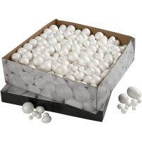 Polystyrene Balls & Eggs, size 1,5-6,1 cm, white, 550 pc/ 1 pack