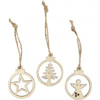 Hanging Christmas ornament, D: 3 cm, thickness 2,7 mm, 24 pc/ 1 pack