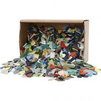 Mosaics, size 8-20 mm, thickness 2-3 mm, assorted colours, 2 kg/ 1 pack