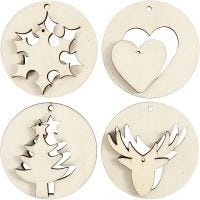 2-in-1 Hanging Decorations, D: 7 cm, hole size 3 mm, thickness 4 mm, 8 pc/ 1 pack