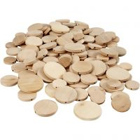 Wooden Buttons, D: 20-35 mm, thickness 4 mm, 320 pc/ 1 pack