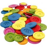 Wooden Buttons, D: 25-40 mm, 2-4 holes, assorted colours, 144 pc/ 1 pack