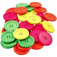 Wooden Buttons, D: 35 mm, hole size 2 mm, 60 pc/ 1 pack