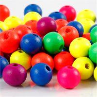 Neonmix Wooden Beads, D: 10 mm, hole size 2,5 mm, neonmix, 18 g/ 1 pack