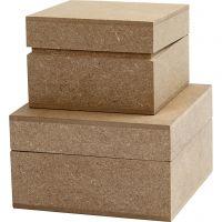Square Boxes, H: 4,8+5,5 cm, size 7,5+9,5 cm, 2 pc/ 1 pack
