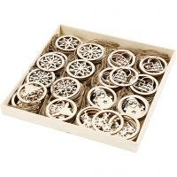 Christmas ornaments, D: 8 cm, thickness 0,3 cm, 144 pc/ 1 pack