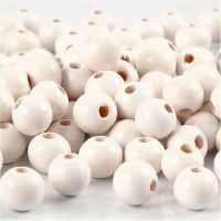 Wooden Beads, D: 8 mm, hole size 2 mm, white, 15 g/ 1 pack, 80 pc
