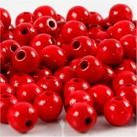 Wooden Beads, D: 8 mm, hole size 2 mm, red, 15 g/ 1 pack, 80 pc