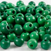 Wooden Beads, D: 8 mm, hole size 2 mm, green, 15 g/ 1 pack, 80 pc