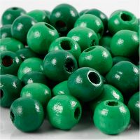 Wooden Beads, D: 10 mm, hole size 3 mm, green, 20 g/ 1 pack