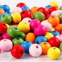 Wooden Beads Mix, D: 8 mm, hole size 1,5-2 mm, assorted colours, 16 g/ 1 pack