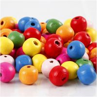 Wooden Beads Mix, D: 10 mm, hole size 2,5-3 mm, assorted colours, 500 g/ 1 bag