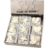 3D Hanging Decoration, heart, star and christmas tree, size 7,5x7,5x0,2 cm, 3x30 pc/ 1 pack