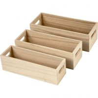 Wooden Storage Boxes, H: 6,5-7,5 cm, L: 22+23,5+25 cm, W: 6,5+7,5+8,5 cm, 3 pc/ 1 set
