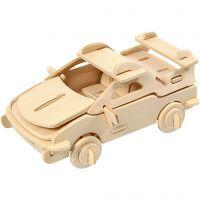 3D Wooden Construction Kit, car, size 13x9x6 cm, 1 pc