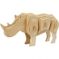 3D Wooden Construction Kit, rhino, size 16x4x8 cm, 1 pc