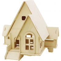 3D Wooden Construction Kit, House with ramp, size 22,5x17,5x20,5 , 1 pc