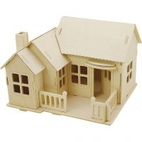 3D Wooden Construction Kit, House with terrace, size 19x17,5x15 , 1 pc