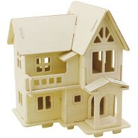 3D Wooden Construction Kit, House with balcony, size 15,8x17,5x19,5 , 1 pc