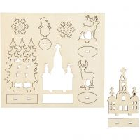 Self-assembly Figures, church, christmas trees, reindeer, L: 15,5 cm, W: 17 cm, 1 pack
