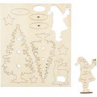 Self-assembly Figures, Santa Claus, christmas trees, deer, L: 20 cm, W: 17 cm, 1 pack