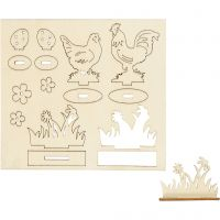 Self-assembly Figures, hens and flowers, L: 15,5 cm, W: 17 cm, 1 pack