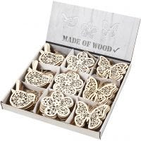 Wooden Ornament, butterfly, flower and bird, H: 10 cm, 90 pc/ 1 pack