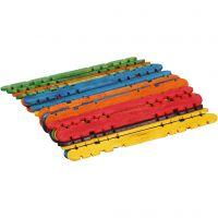 Construction sticks, L: 11,4 cm, W: 10 mm, assorted colours, 30 pc/ 1 pack