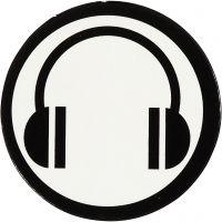 Cardboard Emblem, D: 25 mm, white/black, 20 pc/ 1 pack