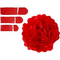 Tissue Pompons, D: 20+24+30 cm, 16 g, red, 3 pc/ 1 pack