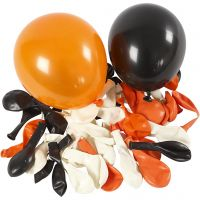 Balloons, Round, D: 23-26 cm, black, orange, white, 100 pc/ 1 pack