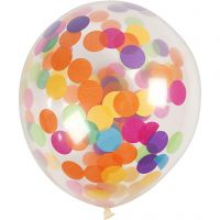 Balloons with Confetti, round, D: 23 cm, transparent, 4 pc/ 1 pack