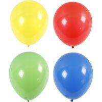 Balloons, giant, D: 41 cm, blue, green, red, yellow, 4 pc/ 1 pack