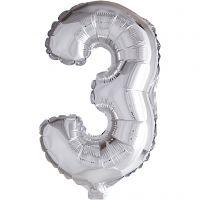 Foil Balloon, 3, H: 41 cm, silver, 1 pc