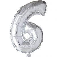 Foil Balloon, 6, H: 41 cm, silver, 1 pc