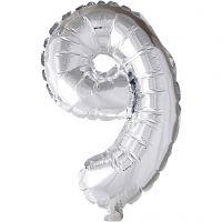 Foil Balloon, 9, H: 41 cm, silver, 1 pc