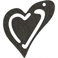 Heart, size 25x22 mm, black, 20 pc/ 1 pack