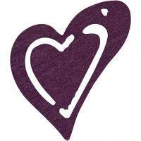 Heart, size 25x22 mm, dark purple, 20 pc/ 1 pack