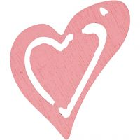 Heart, size 25x22 mm, rose, 20 pc/ 1 pack