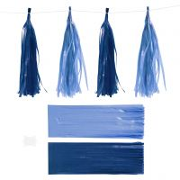 Paper Tassel, size 12x35 cm, 14 g, dark blue/light blue, 12 pc/ 1 pack