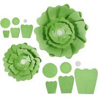 Paper Flowers, D: 15+25 cm, 230 g, green, 2 pc/ 1 pack