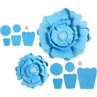 Paper Flowers, D: 15+25 cm, 230 g, light blue, 2 pc/ 1 pack