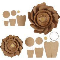 Paper Flowers, D: 15+25 cm, natural, 2 pc/ 1 pack