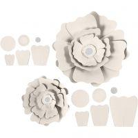 Paper Flowers, D: 15+25 cm, 230 g, off-white, 2 pc/ 1 pack